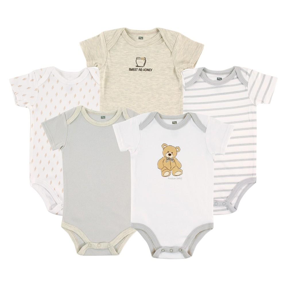Hudson Baby Newborn Boys 5 Pack Bodysuits - Bear 6-9M, Size: 6-9 M, Gray
