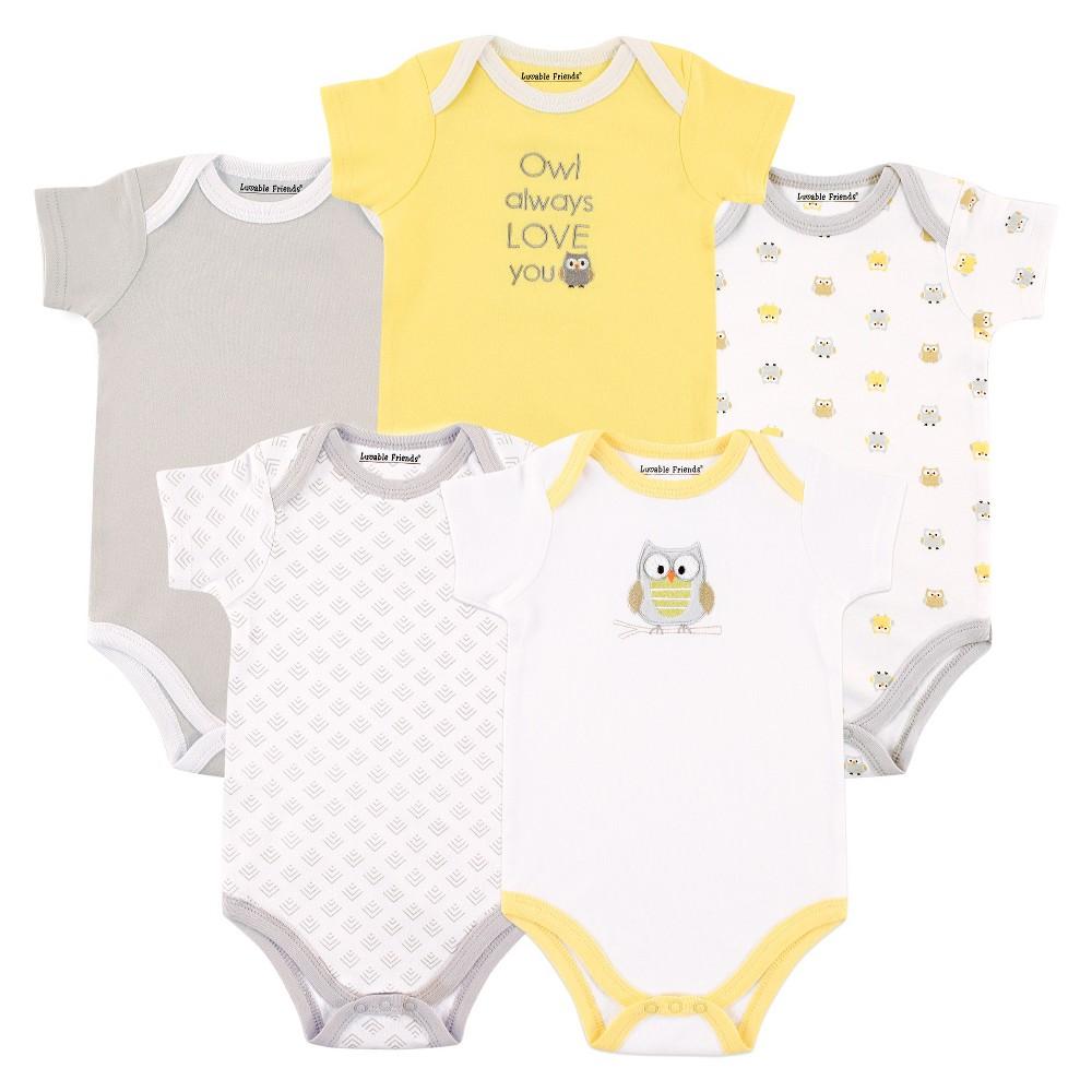 Hudson Baby Baby 5 Pack Bodysuits - Owl 0-12M, Infant Unisex, Size: 9-12 M, Gray Yellow