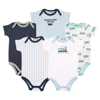 Hudson Baby Newborn Boys' 5 Pack Bodysuits - Train 6-9M