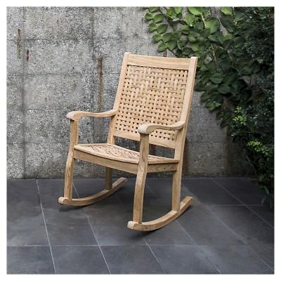 willow bay patio rocking chair wwoven seat u0026 back teak