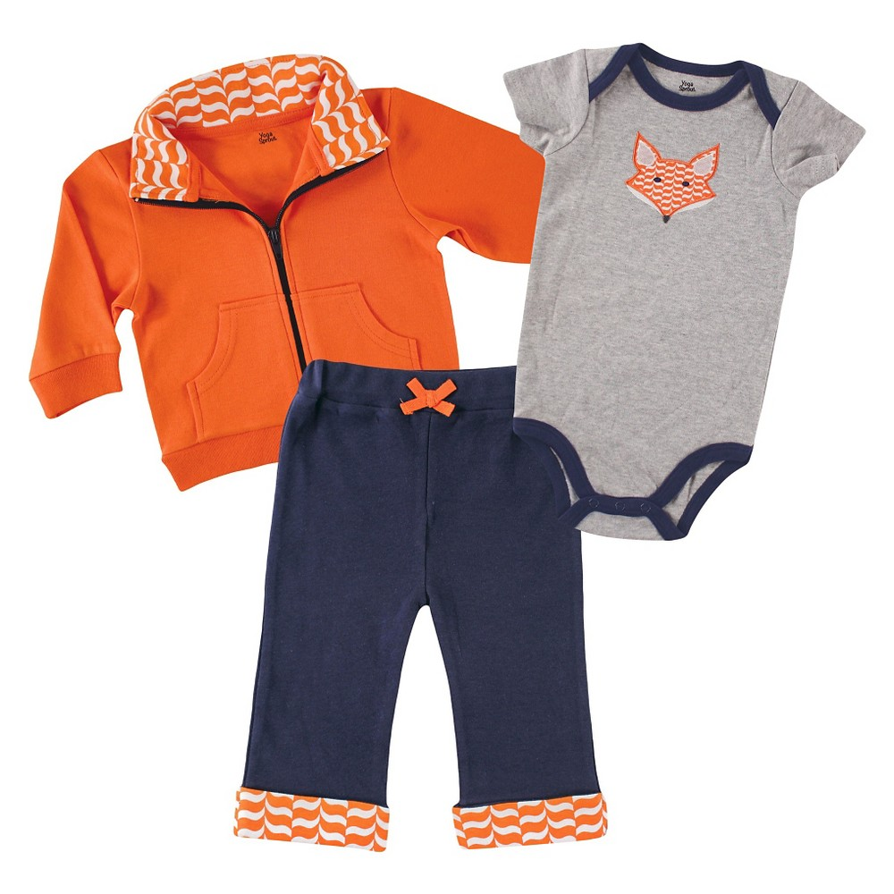 Yoga Sprout Baby Jacket, Bodysuit & Pants Set - Fox 3-6M, Infant Boys, Size: 3-6 M, Blue Orange