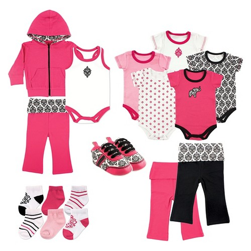 Yoga Sprout Baby Girls' 17 Piece Gift Set - Damask 6-9M, Infant Girl's, Size: 6-9 M, Pink