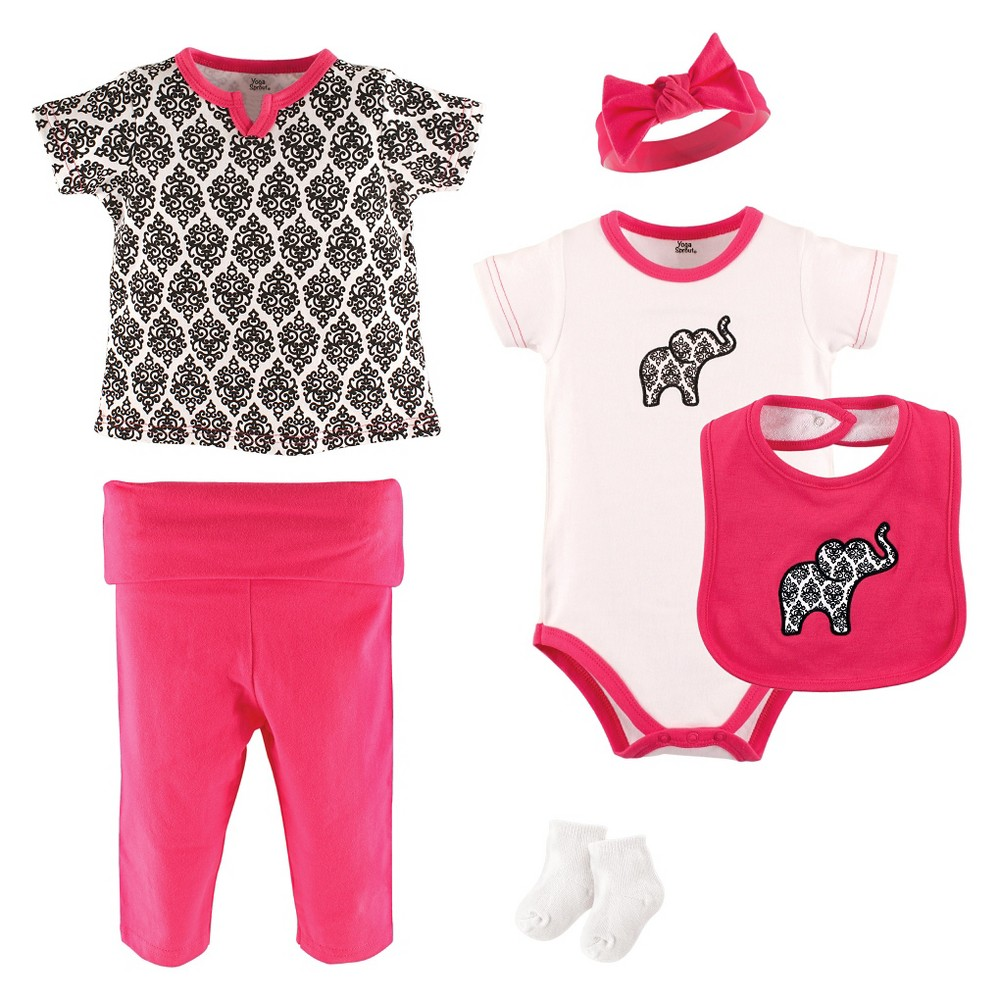 Yoga Sprout Baby Girls 6 Piece Set - Damask 6-9M, Size: 6-9 M, Black Pink