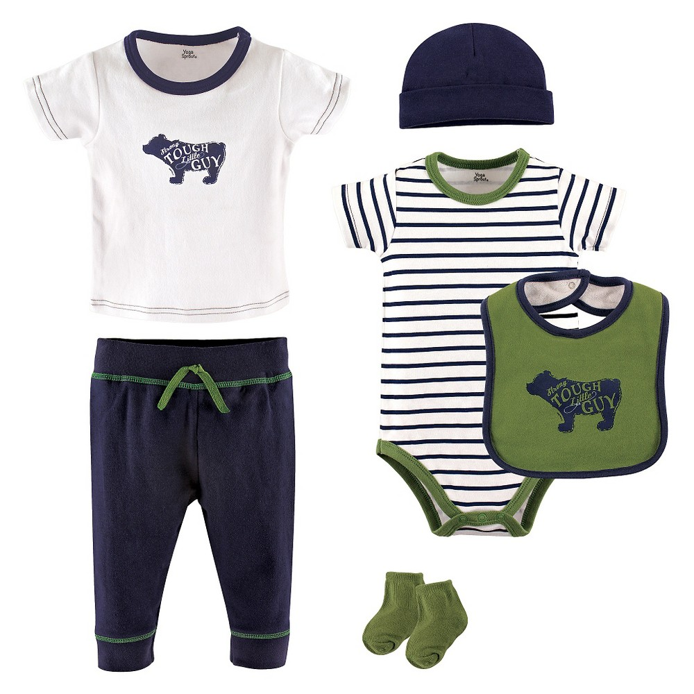 Yoga Sprout Baby Boys 6 Piece Set - Bear 0-3M, Size: 0-3 M, Blue Green