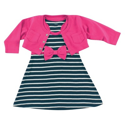 Hudson Baby Newborn Girls' Cropped Cardigan with Racerback Dress - Berry 6-9M