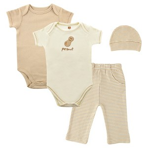 Touched By Nature Baby Organic 4 Piece Gift Set - Peanut, Infant Unisex, Size: 0-6 Months, Tan