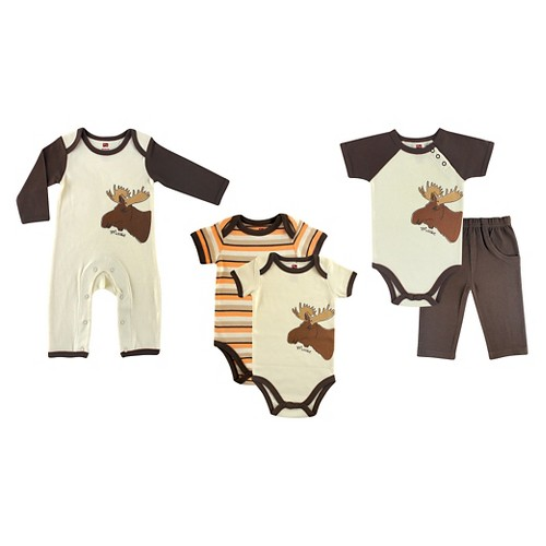 Touched by Nature Baby Boys' Organic 5 Piece Gift Set - Moose 6-9M, Infant Boy's, Size: 6-9 M, Brown Orange Off-White