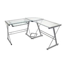 L-Shaped Glass Corner Computer Desk - Saracina Home