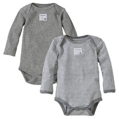 Burt's Bees Baby™ Newborn Bee Essentials 2 Pack Long Sleeve Bodysuits - Heather Gray 12M