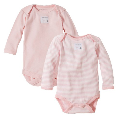 Burt's Bees Baby™ Newborn Bee Essentials 2 Pack Long Sleeve Bodysuits - Blossom 6-9M - image 1 of 1