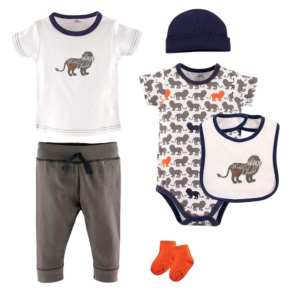 Yoga Sprout Baby Boys 6 Piece Set - Lion 6-9M, Size: 6-9 M, Gray Orange