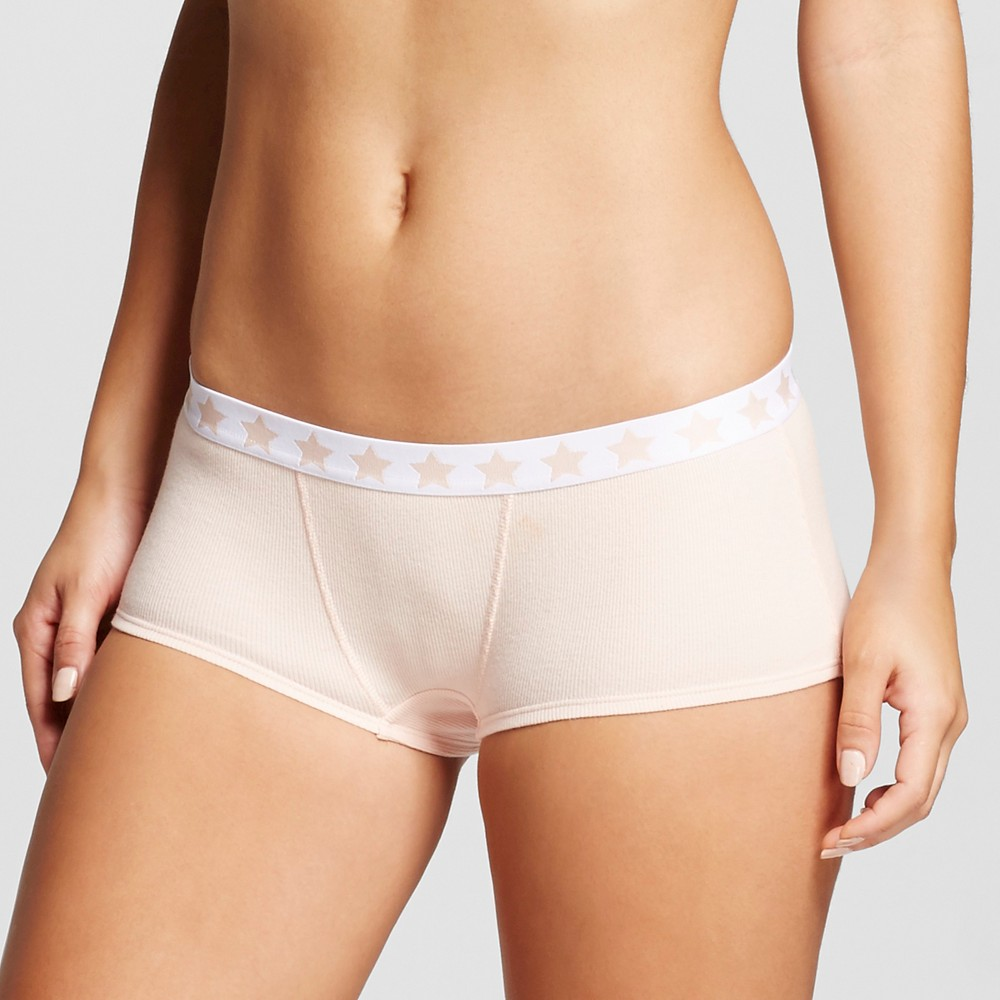 Womens Cotton Rib Boyshorts - Xhilaration Feather Peach L