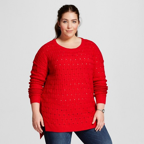 Women's Plus Size Textured Pullover Really Red 2X - Ava & Viv