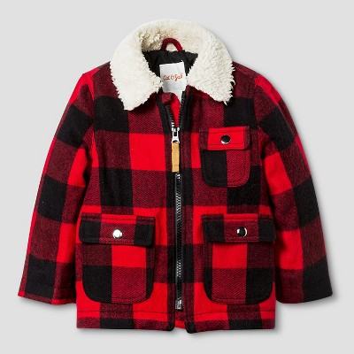Baby Boys' Plaid Jacket with Faux Fur Collar Baby Cat & Jack™ - Red 12M