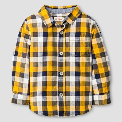 Baby Boys' Button Down Shirt Baby Cat & Jack™ - Navy & Yellow Plaid 18 M