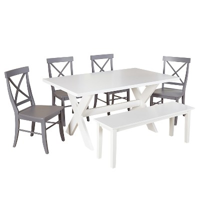 Sumner Dining Set With Bench White/Gray 6 Piece   TMS