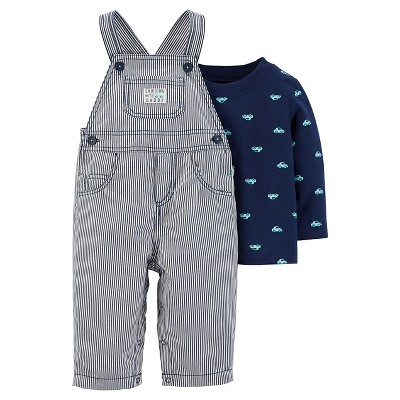 Just One You™ Made by Carter's® Baby Boys' 2pc Stripe Overall Set - Navy - 9M