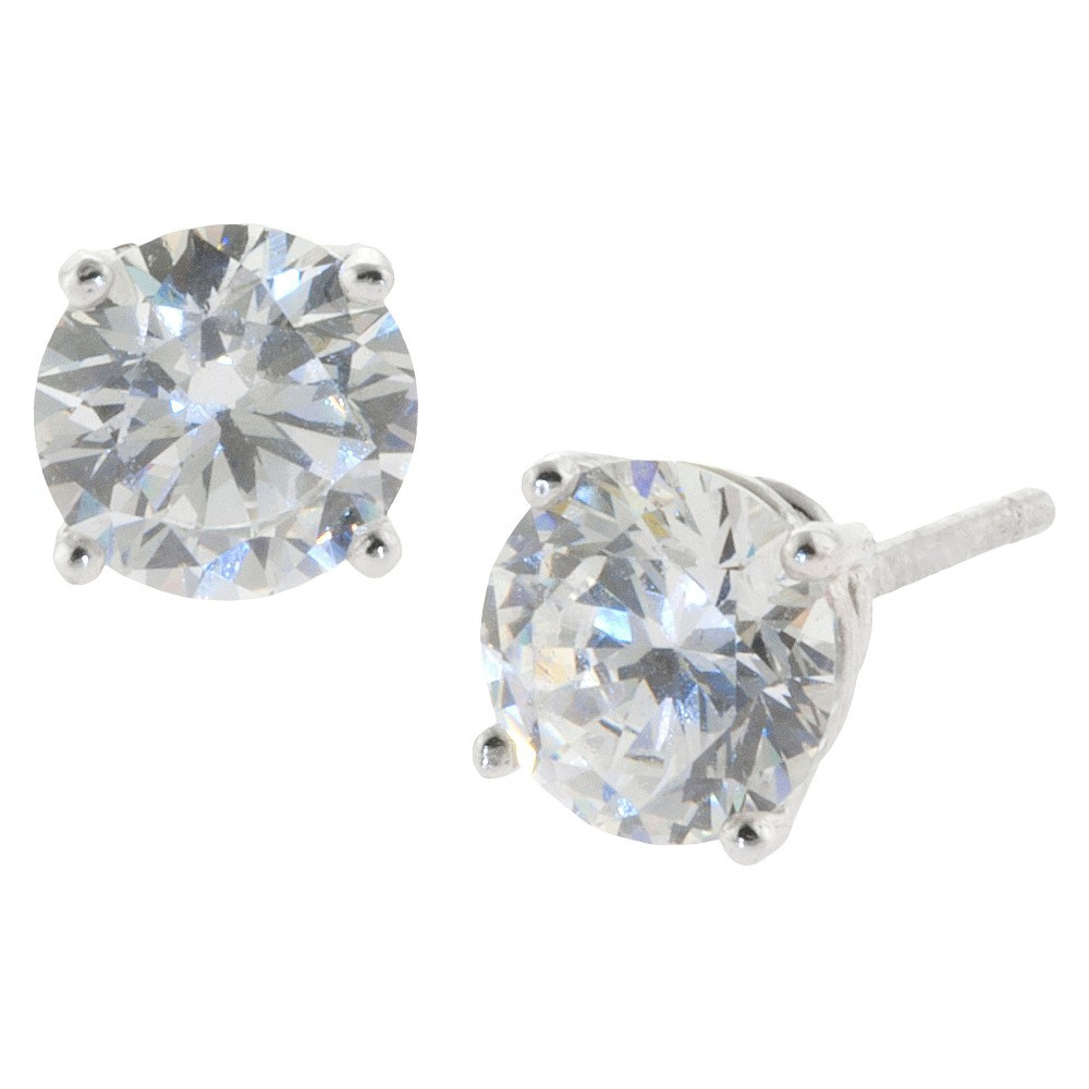 Sterling Silver Round Cubic Zirconia Stud Earrings (6mm), Womens