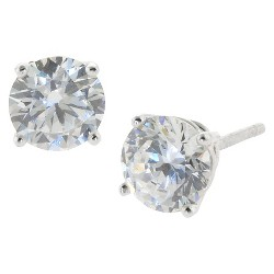 Sterling Silver Round Cubic Zirconia Stud Earrings (6mm)