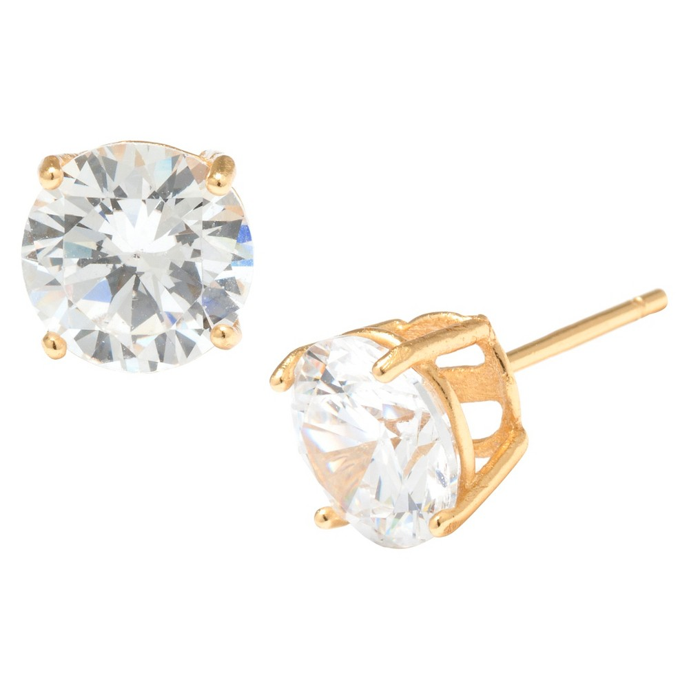 Gold over Sterling Silver Round Cubic Zirconia Stud Earrings (8mm), Womens