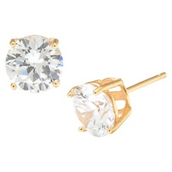Gold over Sterling Silver Round Cubic Zirconia Stud Earrings (8mm)