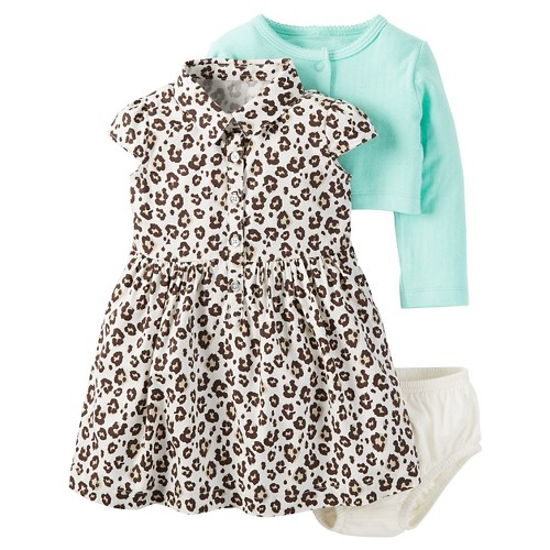 Just One YouMade by Carter's Baby Girls' 2 Piece Animal Print/Mint Dress Set - 24M, Infant Girl's, Size: 24 M, Brown
