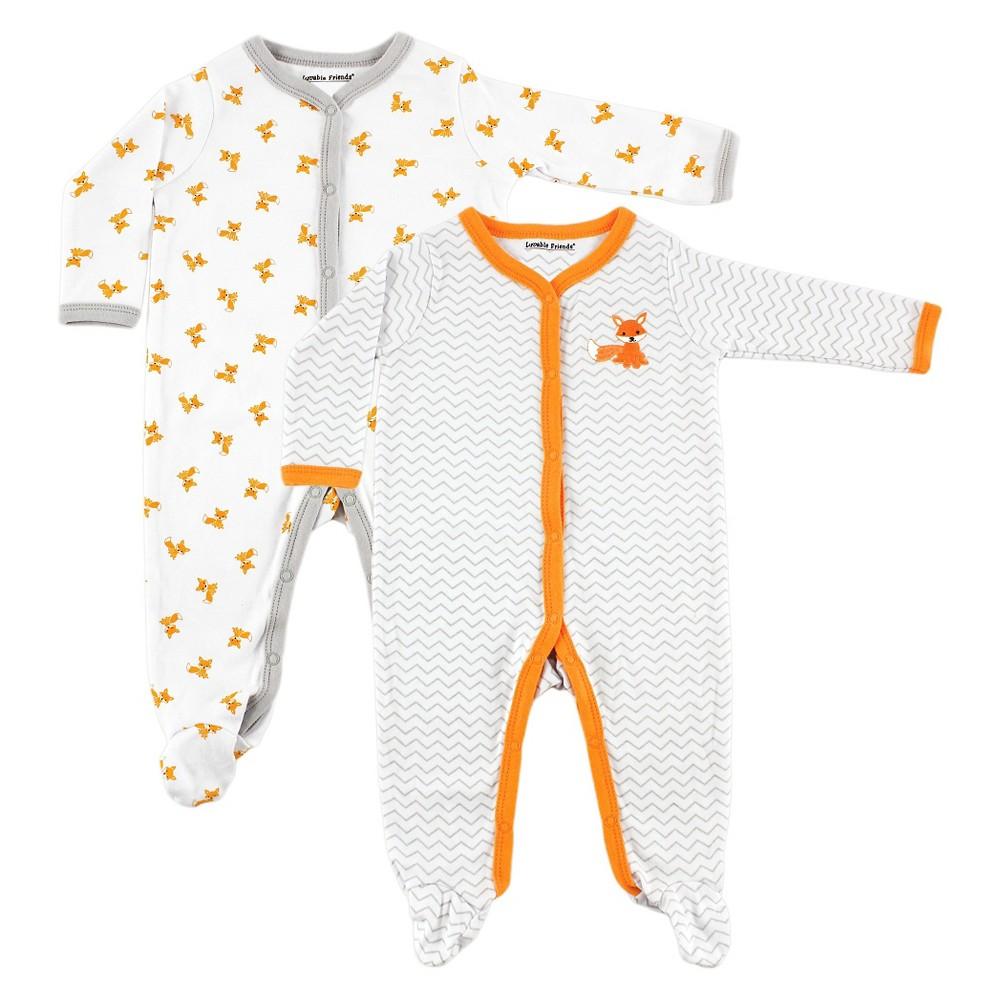 Luvable Friends Baby 2 Pack Sleep N Play - Fox 0-3M, Infant Unisex, Size: 0-3 M, Orange White