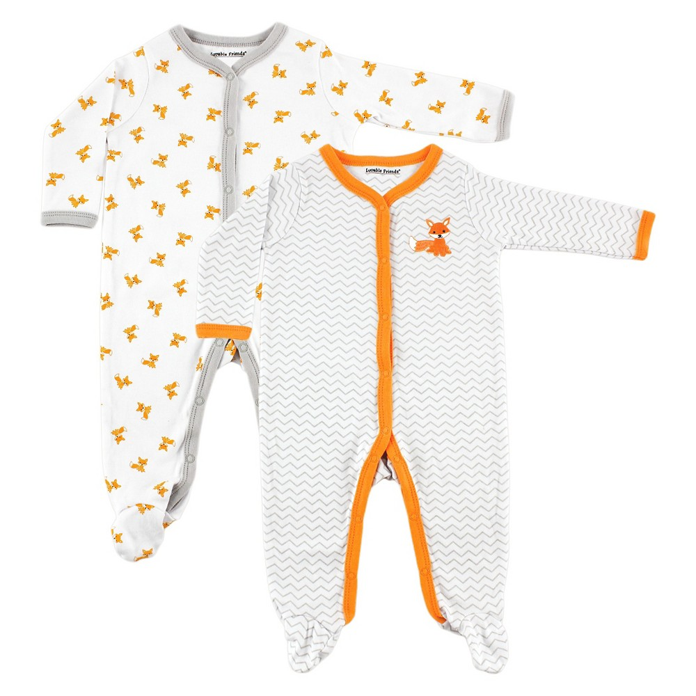 Luvable Friends Baby 2 Pack Sleep N Play - Fox 6-9M, Infant Unisex, Size: 6-9 M, Orange White