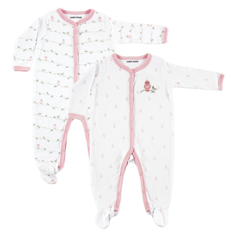 Luvable Friends Baby Girls 2 Pack Sleep N Play - Bird 0-3M, Size: 0-3 M, Pink White