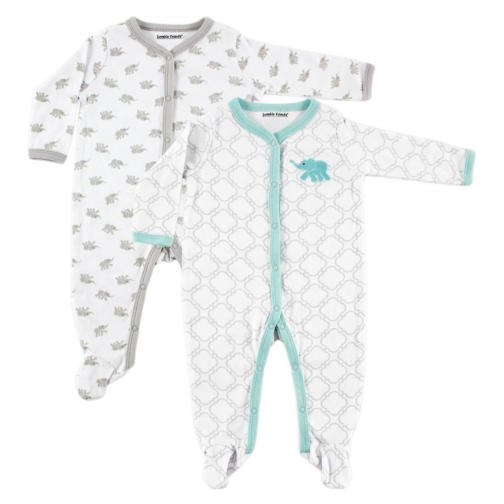 Luvable Friends Baby Boys 2 Pack Sleep N Play - Elephant 3-6M, Size: 3-6 M, Blue White
