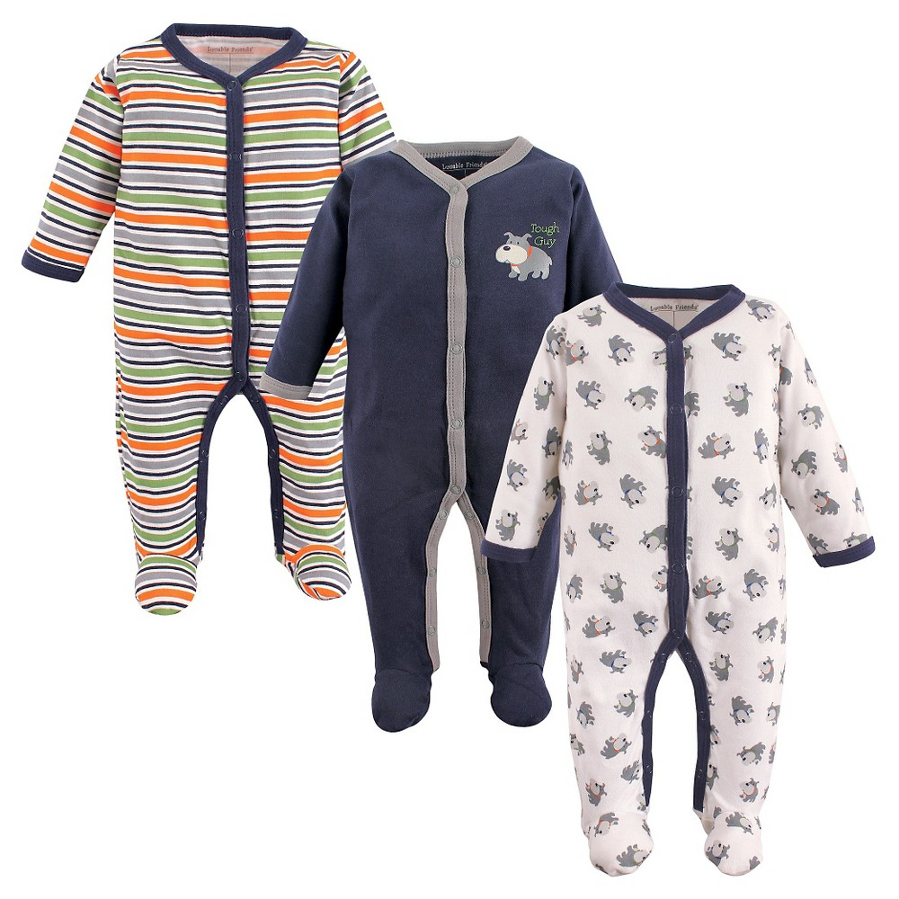 Luvable Friends Baby Boys 3 Pack Zipper Sleep N Play - Dog 6-9M, Size: 6-9 M, Blue