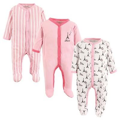 Luvable Friends Baby Girls' 3 Pack Zipper Sleep N' Play - Paris 0-3M