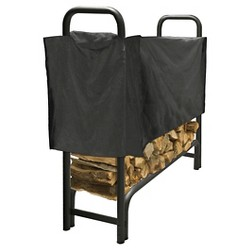 Pleasant Hearth 4' Heavy Duty Log Rack with Half Cover - Black