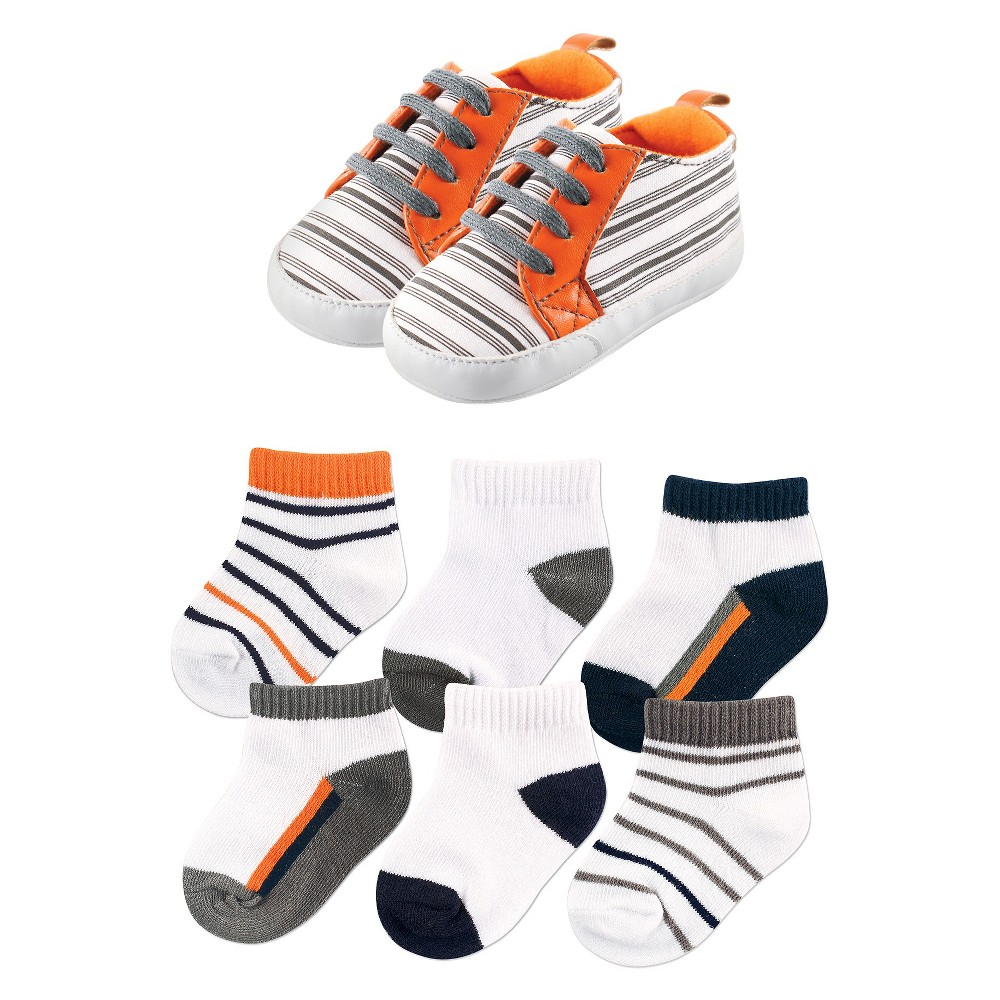 Yoga Sprout Baby 7 Piece Shoes & Socks Gift Set - Striped 0-6M, Infant Boys, Size: 0-6 Months, Gray Orange