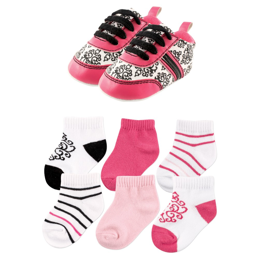 Yoga Sprout Baby Girls 7 Piece Shoes & Socks Gift Set - Damask 12-18M, Size: 12-18 M, Black Pink