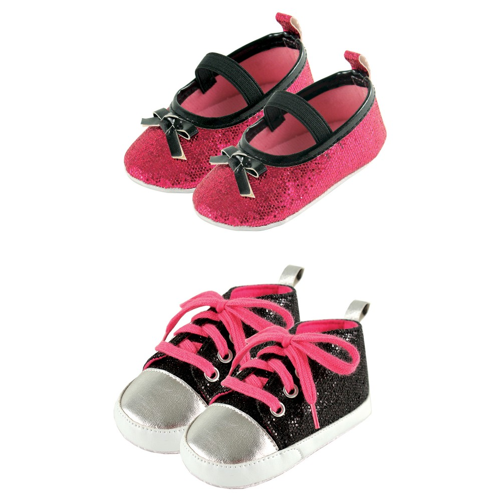 Luvable Friends Baby Girls Sparkly Mary Jane Shoes Set - Black/Pink 6-12M, Size: 6-12 Months, Black Pink