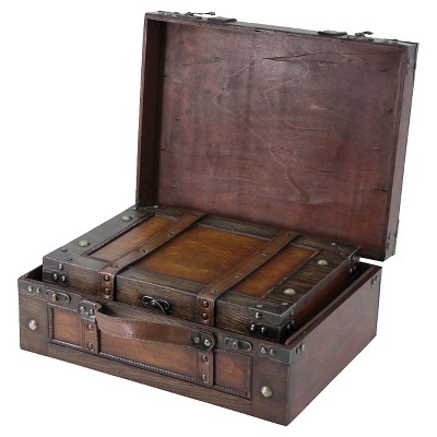 Storage Chests/Suitcase Set of 2 Antique with Decorative Strap - Quickway Imports
