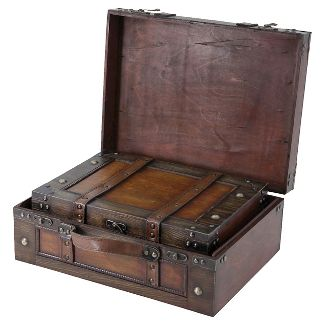 Storage Chests Suitcase Set Of 2 Antique With Decorative Strap Quickway Imports