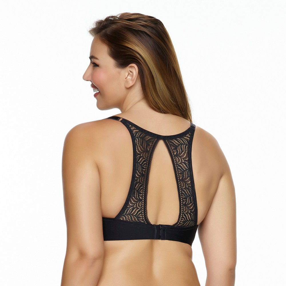Paramour Womens Carolina Seamless Plunge Contour Bra with Lace T-Back - Black 32H
