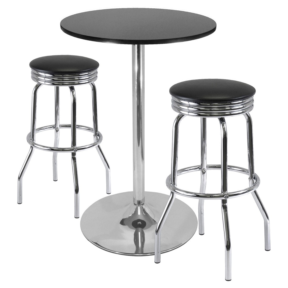 3 Piece Summit Set Pub Table Bar Height with Swivel Stools Metal/Black & Bright Chrome – Winsome