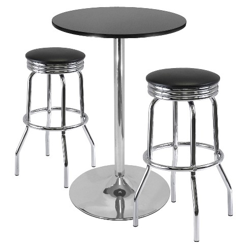 3 Piece Summit Set Pub Table Bar Height with Swivel Stools Metal/Black & Bright Chrome - Winsome - image 1 of 1