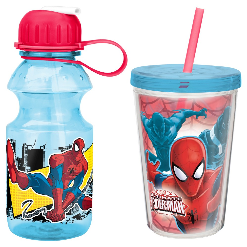 Zak! SpiderMan Ultimate Beverage Set of 2, Red