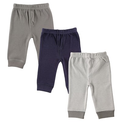 Luvable Friends Baby 3 Pack Tapered Ankle Pants - Gray/Navy 0-3M