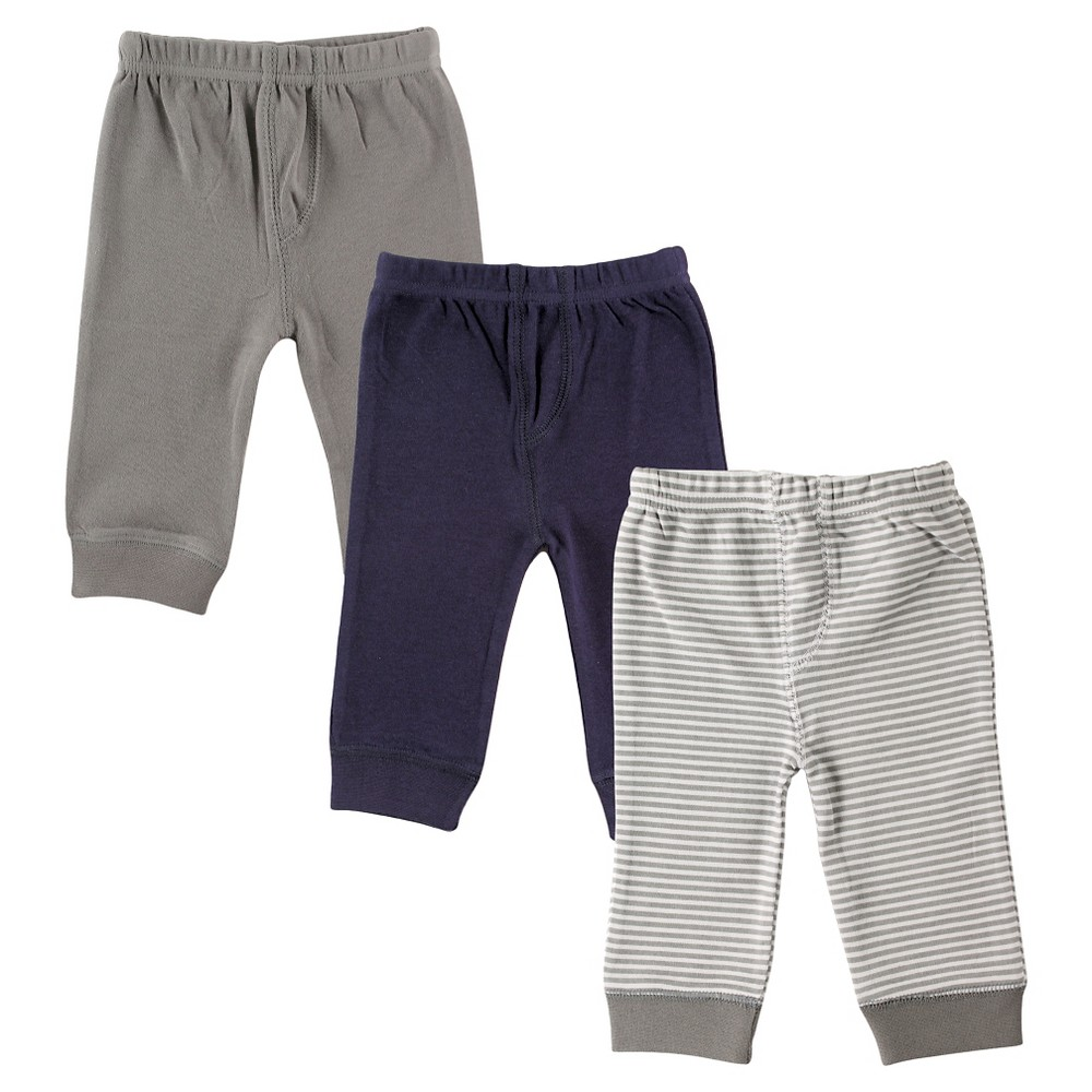 Luvable Friends Baby 3 Pack Tapered Ankle Pant – Grey/Navy 0-3M, Infant Boy's, Size: 0-3 M, Blue Gray