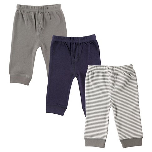 Luvable Friends Baby 3 Pack Tapered Ankle Pants - Gray/Navy - image 1 of 1