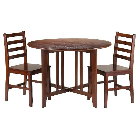 3 Piece Alamo Set Drop Leaf Table with Ladder Back Chairs Wood/Walnut - Winsome - image 1 of 2
