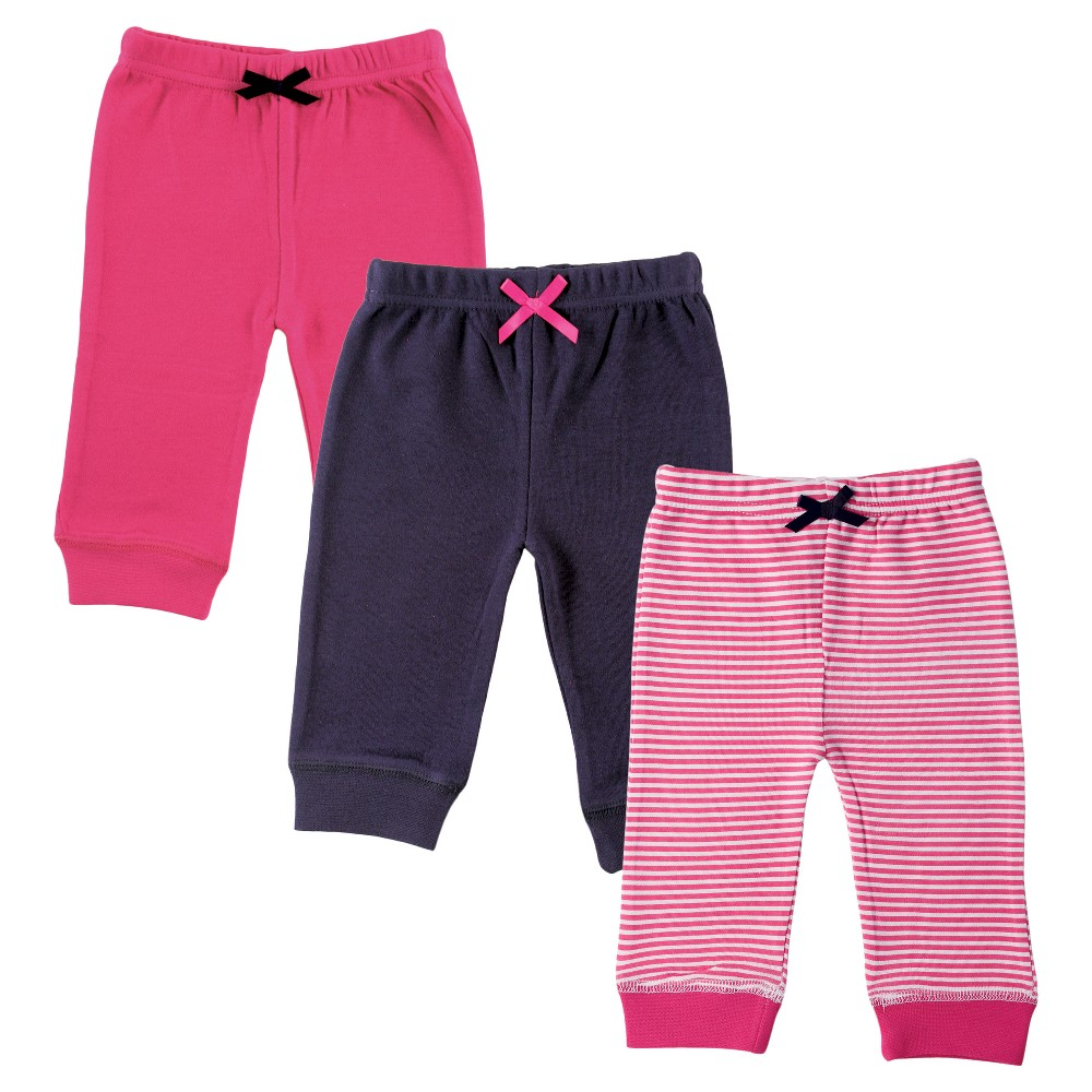 Luvable Friends Baby Girls 3 Pack Tapered Ankle Pants - Pink/Navy 3-6M, Size: 3-6 M, Blue Pink