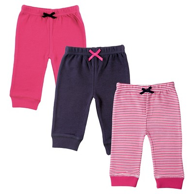 Luvable Friends Baby Girls' 3 Pack Tapered Ankle Pants - Pink/Navy 9-12M