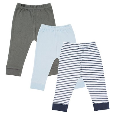 Luvable Friends Baby 3 Pack Tapered Ankle Pants - Navy Striped 9-12M