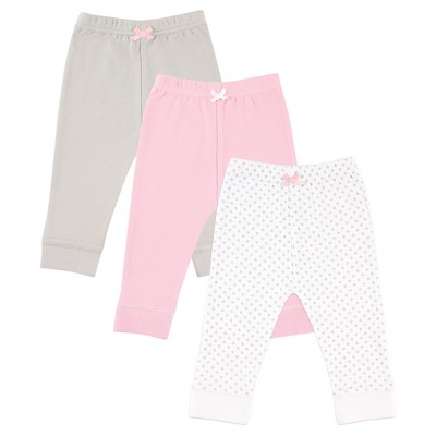 Luvable Friends Baby 3 Pack Tapered Ankle Pants - Gray Dot 3-6M